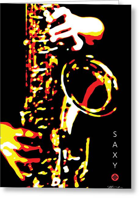 Saxy Black Poster Greeting Card by David Davies