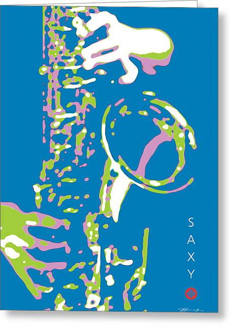 Saxy Blue Poster Greeting Card