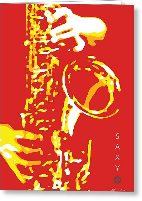Saxy Red Poster Greeting Card