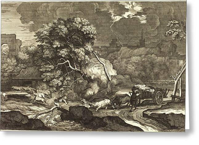 Sébastien Bourdon, French 1616-1671, Landscape Greeting Card by Litz Collection