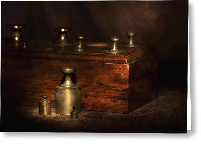 Scale Weights Still Life I Greeting Card by Tom Mc Nemar