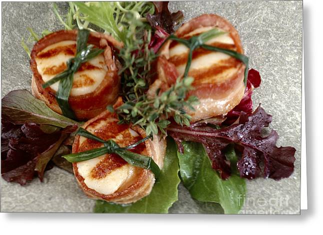 Scallops Wrapped In Bacon On Spring Lettuce Greeting Card by Iris Richardson