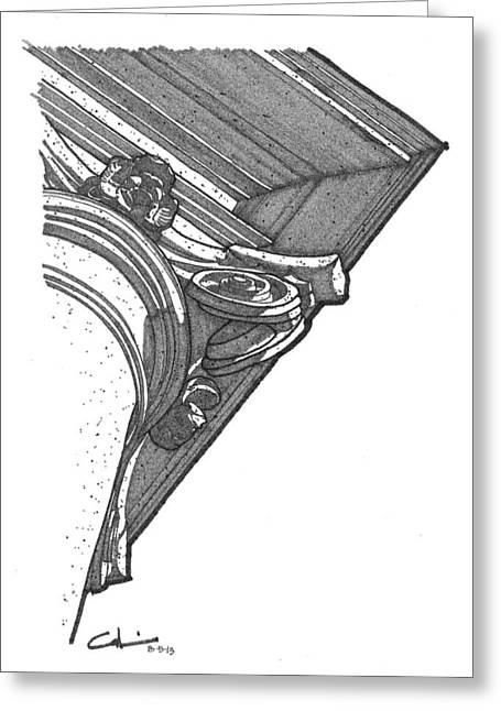 Greeting Card featuring the drawing Scamozzi Column Capital by Calvin Durham