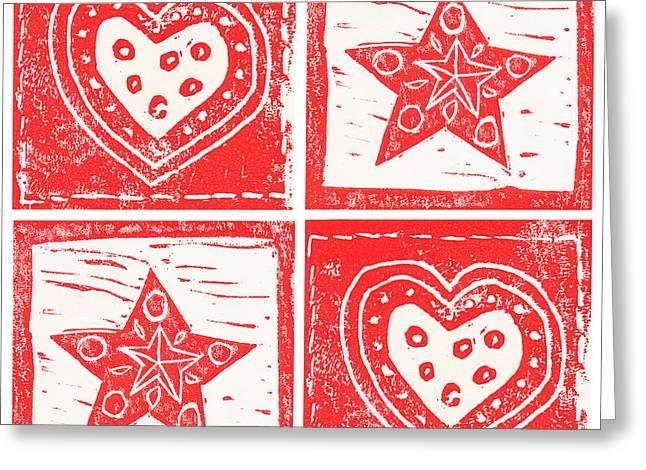 Scandinavian Hearts And Stars Greeting Card