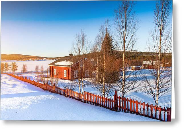 Scandinavian Sunset Greeting Card by JR Photography