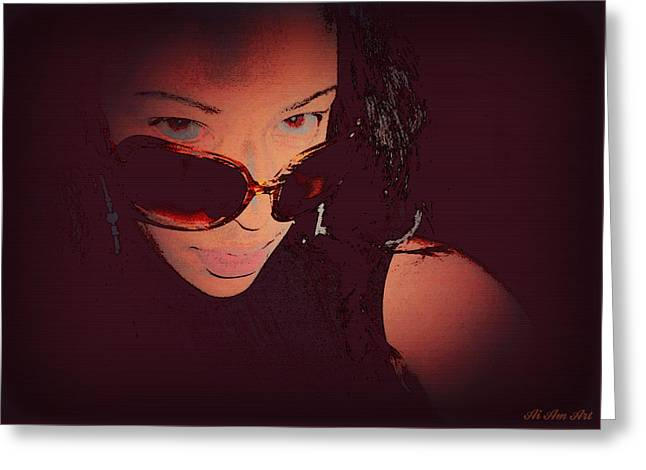 Futuristic Women Sunglasses Fashion Style Art Print Ai P. Nilson  Greeting Card