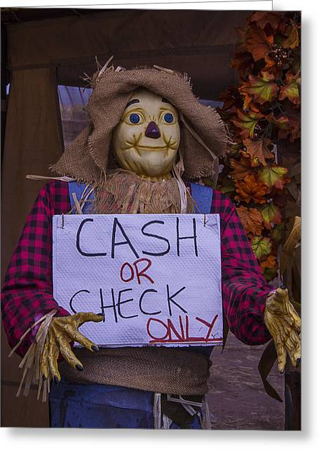 Scarecrow Holding Sign Greeting Card by Garry Gay