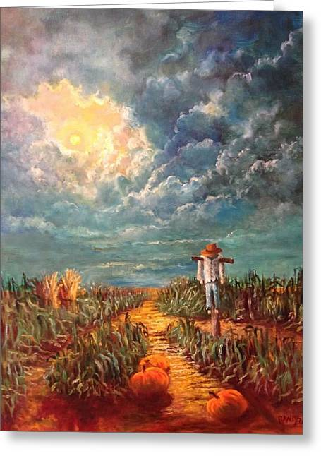 Scarecrow, Moon, Pumpkins And Mystery Greeting Card