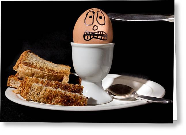 Scared Egg Greeting Card