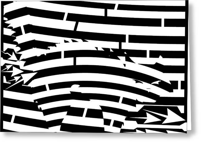 Scared Kitty Maze Greeting Card by Yonatan Frimer Maze Artist