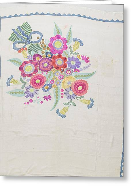 Scarf Crepe De Chine With A White Ground Greeting Card by Litz Collection