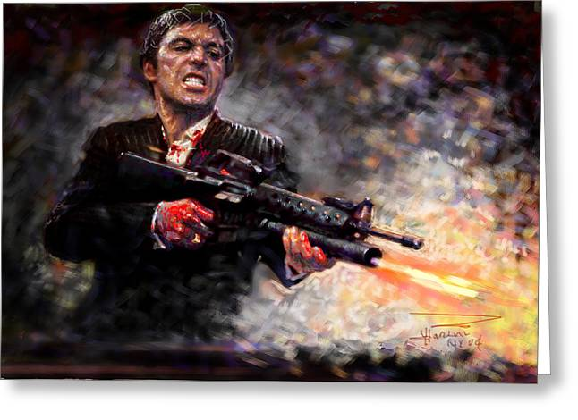 Scarface Greeting Card by Viola El