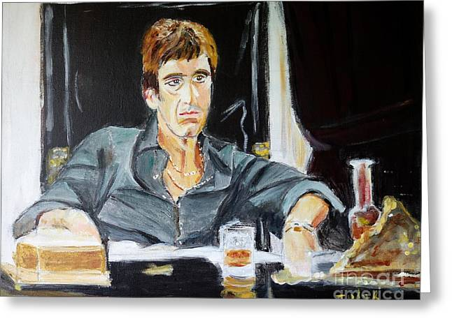 Greeting Card featuring the painting Scarface by Judy Kay