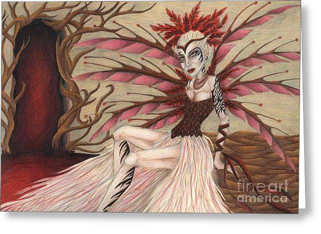 Scarlet Greeting Card by Coriander  Shea