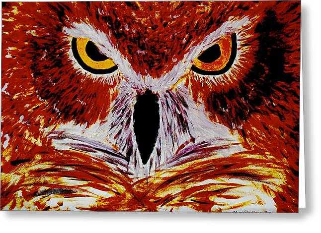 Scarlet Owl Greeting Card by David Cates
