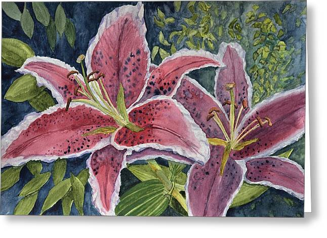 Scarlet Tiger Lilies  Greeting Card