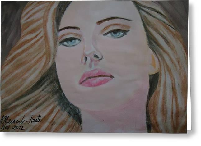 Scarlett Johannson Greeting Card by Fladelita Messerli-