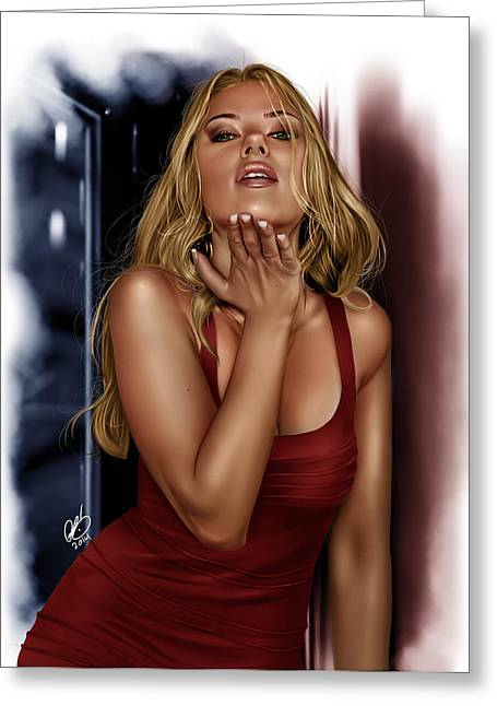 Scarlett Study Greeting Card by Pete Tapang