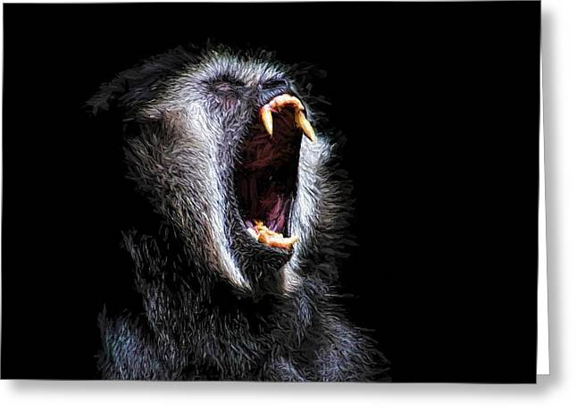 Scary Black Monkey Vicious Fanged Teeth Greeting Card by Tracie Kaska