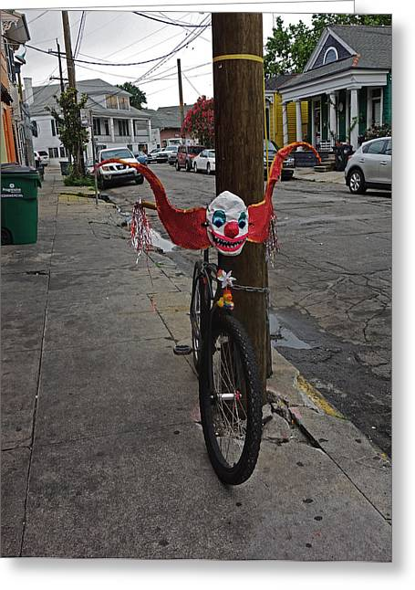 Scary Clown Bike In New Orleans Greeting Card