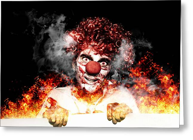 Scary Clown Holding Blank Board In Flames And Fire Greeting Card