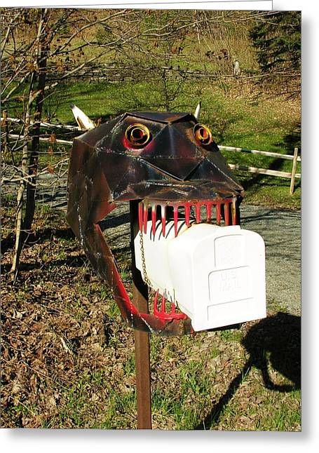 Greeting Card featuring the photograph Scary Mailbox 2 by Sherman Perry