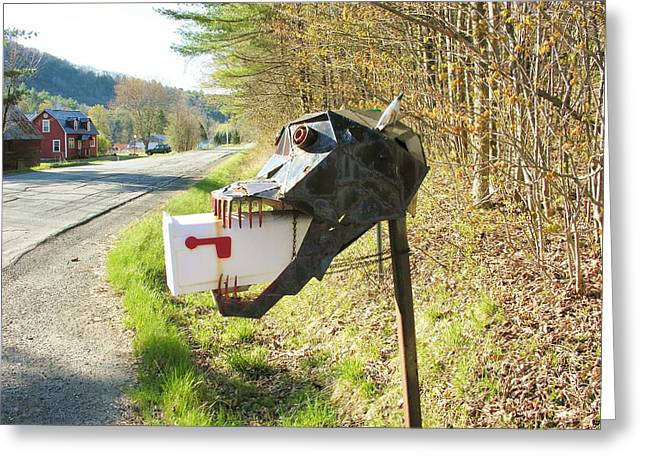 Greeting Card featuring the photograph Scary Mailbox by Sherman Perry