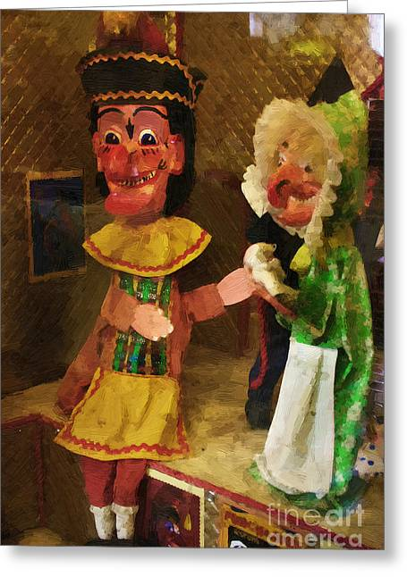 Scary Punch And Judy Greeting Card by Doc Braham