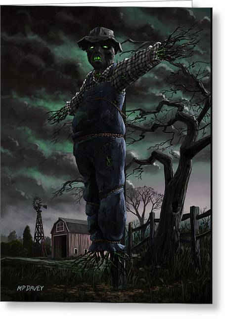 Scary Scarecrow In Field Greeting Card by Martin Davey