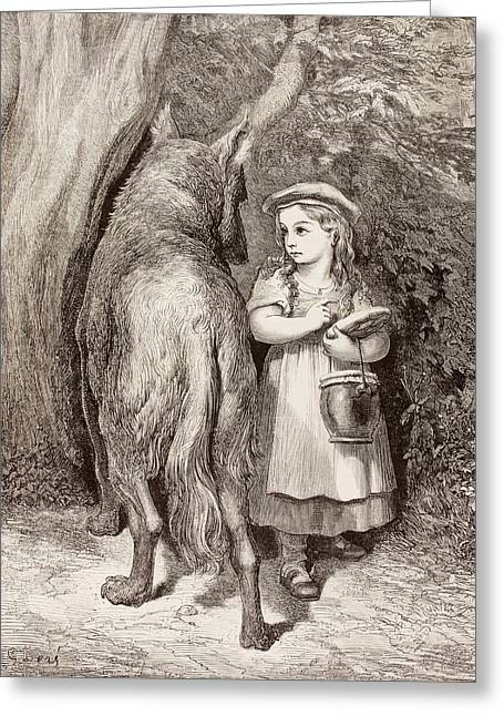 Scene From Little Red Riding Hood Greeting Card by Gustave Dore
