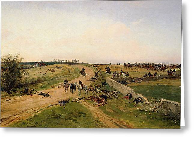 Scene From The Franco-prussian War Oil On Canvas Greeting Card