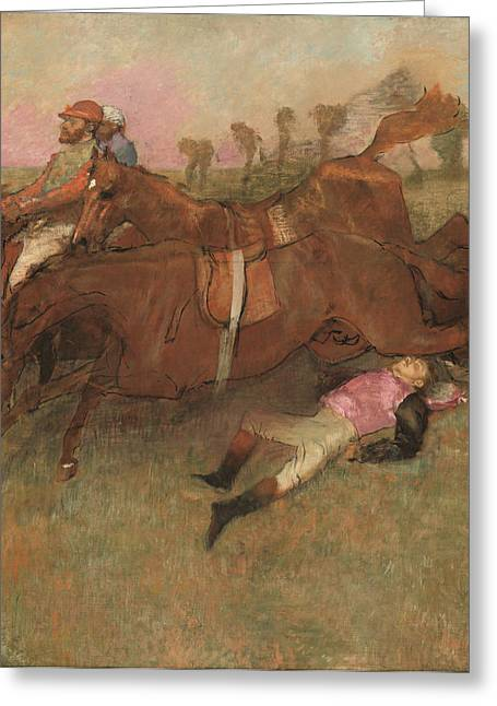 Scene From The Steeplechase The Fallen Jockey Greeting Card by Edgar Degas