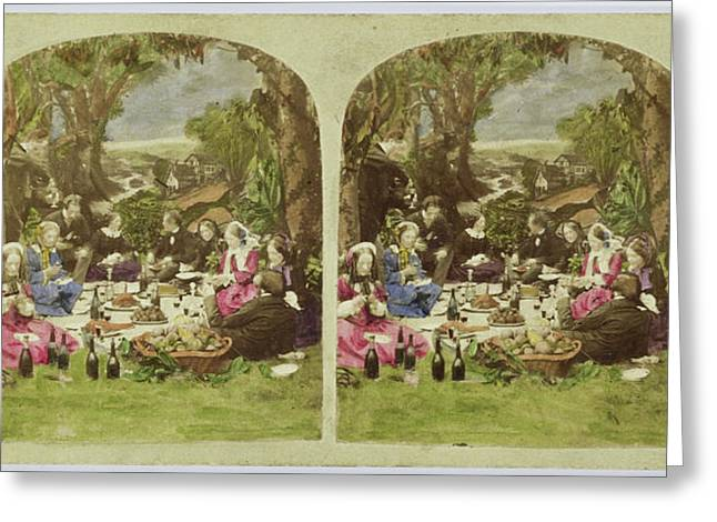 Scene In Garden Company During Picnic, Anonymous Greeting Card