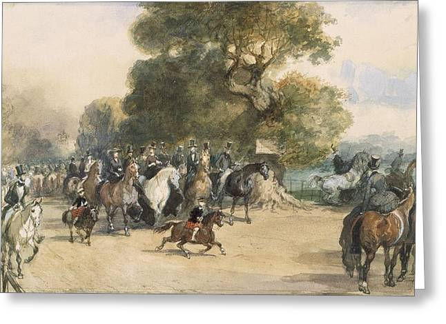Scene In Hyde Park Greeting Card by Eugene-Louis Lami