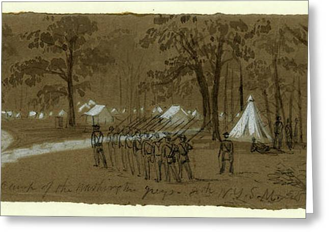 Scene In The Camp Of The Washington Greys. 8th N.y.s Greeting Card