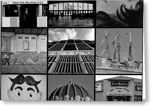 Scenes From Asbury Park New Jersey Collage Black And White Greeting Card by Terry DeLuco