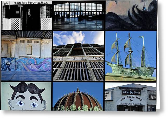 Scenes From Asbury Park New Jersey Collage Greeting Card