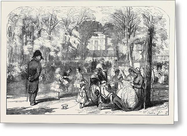Scenes In Paris The Gardens Of The Tuileries Greeting Card