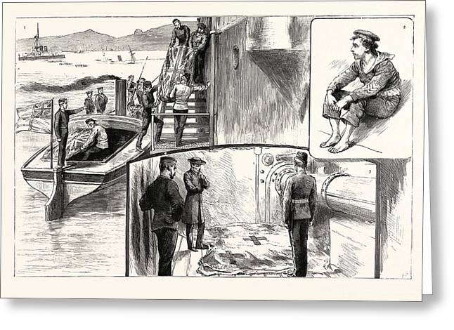 Scenes On Board H.m.s. Anson After The Catastrophe 1 Greeting Card by English School