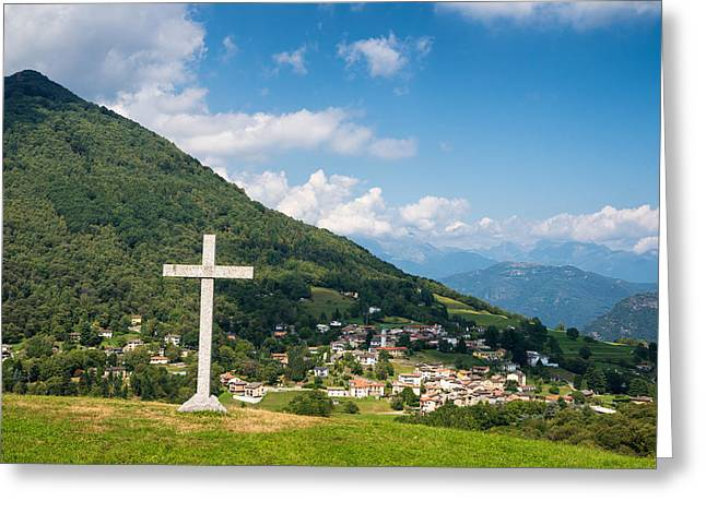 Scenic Landscape With Little Village Hill And Cross In Switzerland Greeting Card