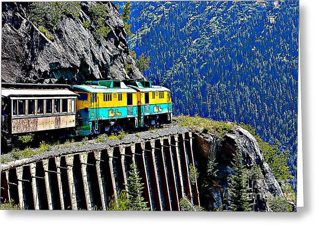 Scenic Train Cartoon Greeting Card by Sophie Vigneault