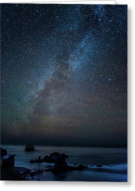 Scenic View Of Beach Against Star Field Greeting Card