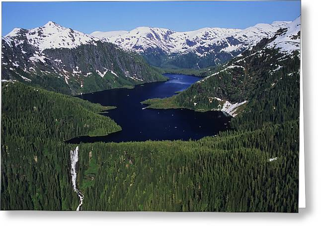 Scenic View Of Big Goat Lake, Misty Greeting Card