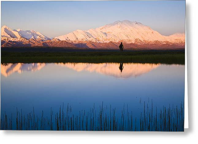 Scenic View Of Mt. Mckinley Reflected Greeting Card by Michael DeYoung