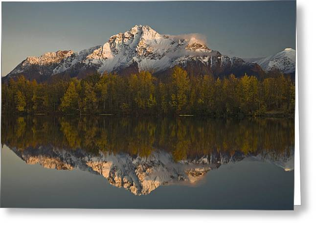 Scenic View Of Pioneer Peak Reflecting Greeting Card by Hal Gage