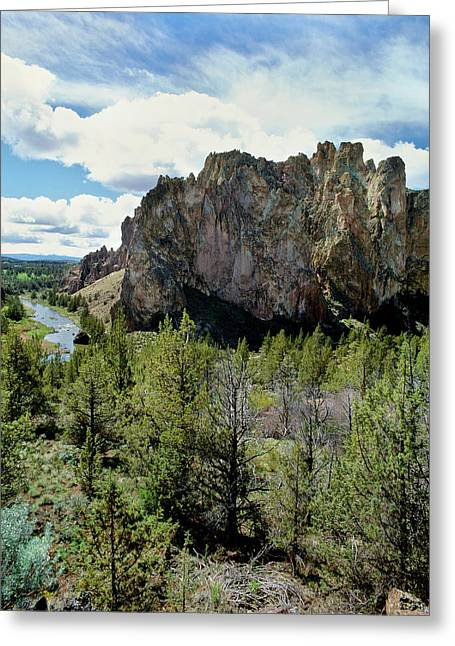 Scenic View Of Smith Rock, Crooked Greeting Card