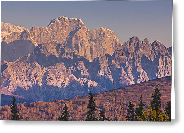 Scenic View Of Sunrise On Mooses Tooth Greeting Card by Kevin Smith
