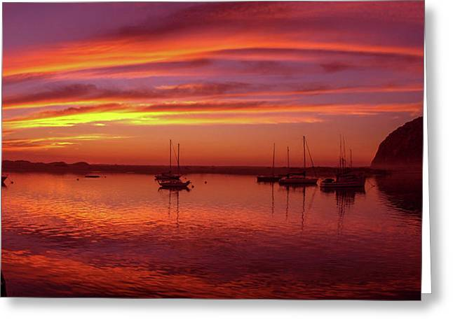 Scenic View Of The Morro Bay At Dusk Greeting Card