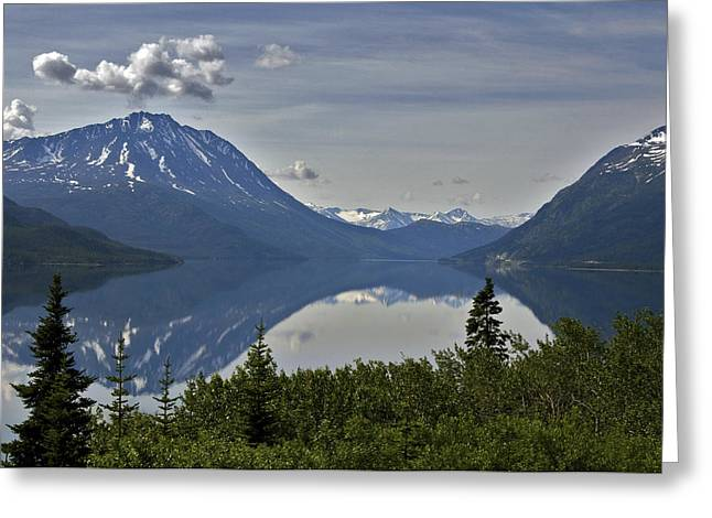 Scenic View Of Tutshi Lake And White Greeting Card
