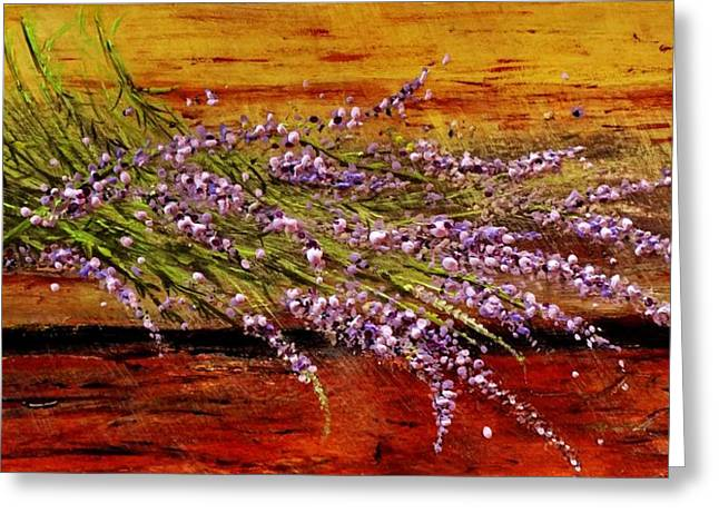 Greeting Card featuring the painting Scent Of Lavender... by Cristina Mihailescu